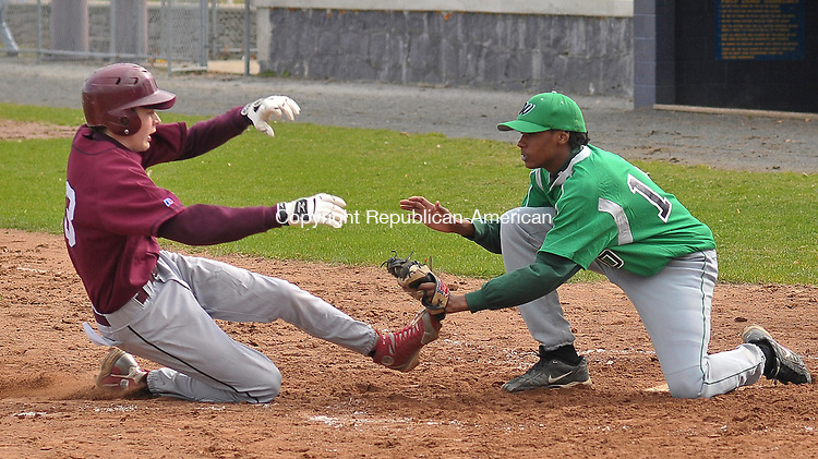 TORRINGTON, CT-08 APRIL 2009-040809JS05--Torrington's Mike LaFrance gets tagged out at home plate by Wilby's Jefferson Germosen after trying to score on a passed ball during their game Wednesday at Fuessenich Park in Torrington<br /> Jim Shannon Republican-American