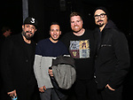 "AJ McLean, Howie Dorough and Kevin Richardson from the Backstreet Boys backstage with Nick Kohn from the cast and crew of  ""Avenue Q""  at the New World Stages on January 27, 2019 in New York City."
