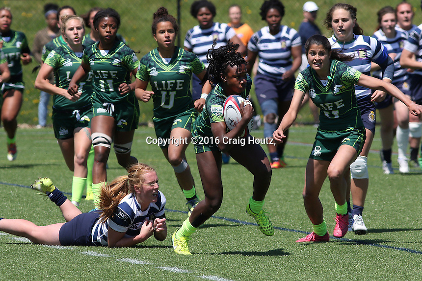 Penn State women's rugby against Life University women's rugby  Deshel Ferguson in the D1 Elite Rugby National Championship semi-final on April 24, 2016. Penn State won 13-7. Photo/© 2016 Craig Houtz