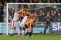 Leon Legge of Cambridge heads clear during Cambridge United vs Sutton United , Emirates FA Cup Football at the Cambs Glass Stadium on 5th November 2017