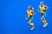 2nd February 2020; Sydney Olympic Park, Sydney, New South Wales, Australia; Womens International FIH Field Hockey, Australia versus Great Britain Women; Ambrosia Malone and Jane Claxton of Australia leave the field