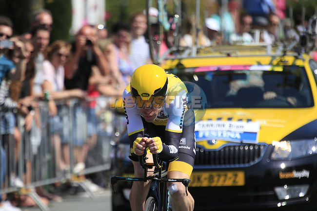 Bram Tankink (NED) Lotto NL-Jumbo in action during Stage 1 of the 2016 Giro d'Italia, an individual time trial of 9.8km around Apeldoorn, The Nethrerlands. 6th May 2016.<br /> Picture: Eoin Clarke | Newsfile<br /> <br /> <br /> All photos usage must carry mandatory copyright credit (&copy; Newsfile | Eoin Clarke)