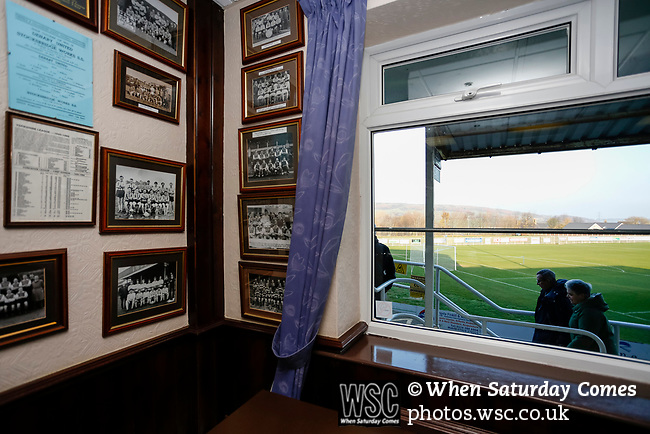 Old team pictures in the Directors Lounge at the Look Local Stadium. Stocksbridge Park Steels v Pickering Town,  Evo-Stik East Division, 17th November 2018. Stocksbridge Park Steels were born from the works team of the local British Steel plant that dominates the town north of Sheffield.<br />