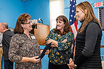 NAUGATUCK, CT. 08 December 2018-120818 - Linda Kazimir who was one of the spouses honored, left, talks to her daughters Terri Kelley of Concord, NH, center, and Kate Rica of Lakeville, who made the trip down to Naugatuck to be with their mom during the honoring of Vietnam Veterans Spouses, part of the the Certificate of Honor Program at the American Legion Post 17 in Naugatuck on Saturday. This is the first time in Connecticut that any type of honor has been given to the spouses. Bill Shettle Republican-American