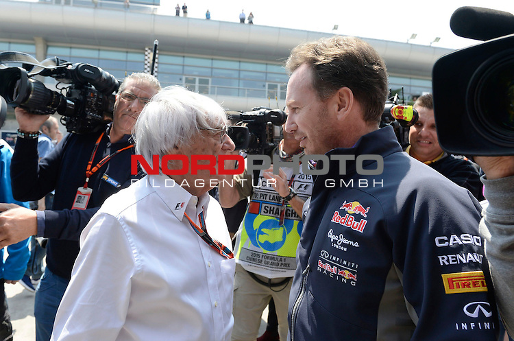 12.04.2015, Shanghai-International-Circuit, Schanghai, CHN, Gro&szlig;er Preis von China / Schanghai 2015, im Bild  Bernie Ecclestone (GBR) - Christian Horner (GBR), Red Bull Racing, Sporting Director<br /> for the complete Middle East, Austria &amp; Germany Media usage only!<br />  Foto &copy; nph / Mathis