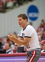 NWA Democrat-Gazette/BEN GOFF @NWABENGOFF<br /> Eric Musselman, Arkansas head coach, watches Saturday, Oct. 5, 2019, during the annual Arkansas Red-White Game at Barnhill Arena in Fayetteville.