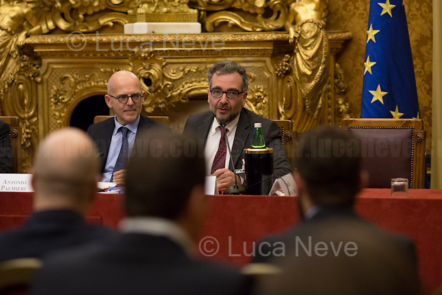 (From L to R) Antonio Palmieri MP &amp; Stefano Epifani.<br /> <br /> Rome, 15/12/2017. Today, the Chamber of the Deputies of the Italian Republic held the 6th annual Conference: &quot;La tecnologia che migliora la vita delle persone - Tecnologia Solidale 2017&quot; (The technology which improves people's lives - Assistive Technology 2017). The event, held in the &quot;Sala Aldo Moro&quot;, was hosted by Antonio Palmieri MP (Forza Italia Party - Member of the &quot;Intergruppo innovazione&quot;), Simone Baldelli MP (Forza Italia Party, Vice-president of the Chamber of Deputies), Giovanni Iozzia (Director of Economyup.it) and Stefano Epifani (Professor of Internet &amp; Social Media Studies at Universit&agrave; La Sapienza di Roma, fondatore di Tech Economy, Presidente Digital Transformation Institute &amp; UN advisor). Guests of the event were: Paola Cavallero (Director of Marketing &amp; Operations Microsoft Italy), Franco Bernardi (ASPHI), Bruno Calchera (CSR Oggi), Enrico Capiozzo (VEASYT), Lorenzo Di Ciaccio (Pedius), Francesca Fedeli (Fight the stroke), Mary Franzese (Neuron Guard), Alberto Giannini (Portale della Salute), Marco Iannacone (EdiTouch), Diego Ierna &amp; Luca di Francesco (Job4Good), Francesco Menegoni (GLIfe Company), Gianluca Ricci (Cuore Digitale), Luca Spaziani (DigitAbili), Mario Vigentini (Mario's way). From the organisers event page: &lt;&lt;We present our initiatives, perspectives and goals for 2018, and we will discuss the creation of an ecosystem that holds together startups, businesses, initiatives, companies that use technology to improve people's lives. And then, what to ask politics to be properly open to innovation?&gt;&gt;<br /> <br /> For more info please click here: http://bit.ly/2kS6JfS<br /> <br /> For a video of the event please click here: http://webtv.camera.it/evento/12370