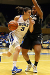 07 January 2016: Duke's Angela Salvadores (ESP) (left) and Wake Forest's Ataijah Taylor (right). The Duke University Blue Devils hosted the Wake Forest University Demon Deacons at Cameron Indoor Stadium in Durham, North Carolina in a 2015-16 NCAA Division I Women's Basketball game. Duke won the game 95-68.