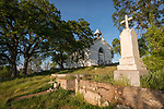 Cemetery at the historic St. Francis Xavier Catholic Church, Chinese Camp, Calif., built 1855 and one of the oldest Catholic churches in California's Mother Lode.