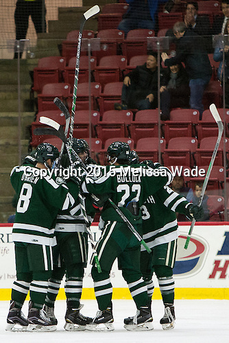 The Big Green celebrate Nick Bligh's (Dartmouth - 23) goal which opened scoring in the game. - The Harvard University Crimson defeated the Dartmouth College Big Green 5-2 to sweep their weekend series on Sunday, November 1, 2015, at Bright-Landry Hockey Center in Boston, Massachusetts. -