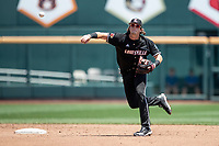 Louisville Cardinals shortstop Tyler Fitzgerald (2) makes a throw to first base during Game 3 of the NCAA College World Series against the Vanderbilt Commodores on June 16, 2019 at TD Ameritrade Park in Omaha, Nebraska. Vanderbilt defeated Louisville 3-1. (Andrew Woolley/Four Seam Images)