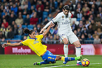 Mauricio Lemos l - competes for the ball with Isco Alarcon of Real Madrid  during the match of Spanish La Liga between Real Madrid and UD Las Palmas at  Santiago Bernabeu Stadium in Madrid, Spain. March 01, 2017. (ALTERPHOTOS / Rodrigo Jimenez) /NORTEPHOTOmex