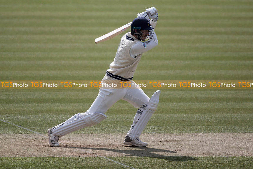 Toby Roland Jones of Middlesex CCC drives through mid off during Middlesex CCC vs Lancashire CCC, Specsavers County Championship Division 2 Cricket at Lord's Cricket Ground on 12th April 2019