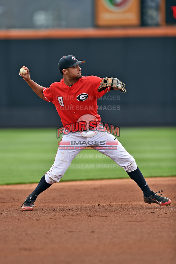 Georgia Bulldogs shortstop Nick King (8) throws to first during a game against the Tennessee Volunteers at Lindsey Nelson Stadium March 21, 2015 in Knoxville, Tennessee. The Bulldogs defeated the Volunteers 12-7. (Tony Farlow/Four Seam Images)