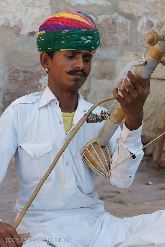 musician in inner courtyard of Fort  Mehrangarh Jodhpur, Rajastan, India
