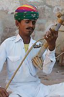 musician in inner courtyard of Fort  Mehrangarh Jodhpur, Rajastan, India