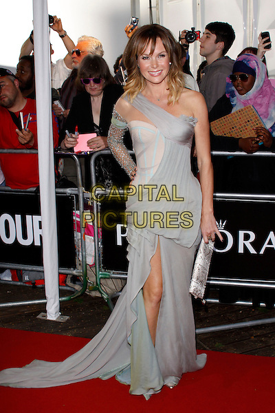 Amanda Holden<br /> Glamour Women Of The Year Awards, Berkeley Square Gardens, London, England. <br /> 4th June, 2013<br /> full length grey gray dress  one shoulder sleeve lace slit split hand on hip<br /> CAP/AH<br /> &copy;Adam Houghton/Capital Pictures