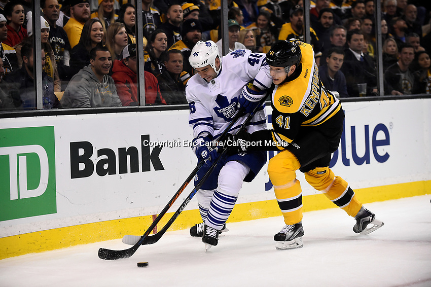 Saturday, November 21, 2015: Toronto Maple Leafs defenseman Roman Polak (46) and Boston Bruins left wing Joonas Kemppainen (41) battle for the puck during the National Hockey League game between the Toronto Maple Leafs and the Boston Bruins held at TD Garden, in Boston, Massachusetts. The Bruins defeat the Maple Leafs 2-0 in regulation time. Eric Canha/CSM