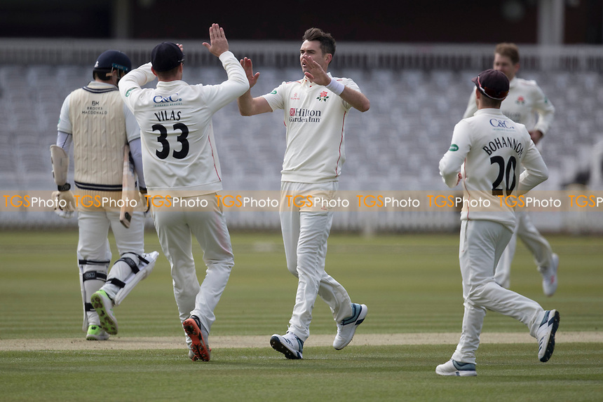 James Anderson of Lancashire CCC celebrates the wicket of Sam Robson with Dane Vilas of Lancashire CCC during Middlesex CCC vs Lancashire CCC, Specsavers County Championship Division 2 Cricket at Lord's Cricket Ground on 11th April 2019