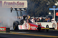 Feb. 14, 2013; Pomona, CA, USA; NHRA top fuel dragster driver Doug Kalitta during qualifying for the Winternationals at Auto Club Raceway at Pomona.. Mandatory Credit: Mark J. Rebilas-