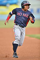 Rome Braves right fielder Randy Ventura (11) runs to third base during a game against the Asheville Tourists at McCormick Field on June 12, 2017 in Asheville, North Carolina. The Tourists defeated the Braves 7-0. (Tony Farlow/Four Seam Images)