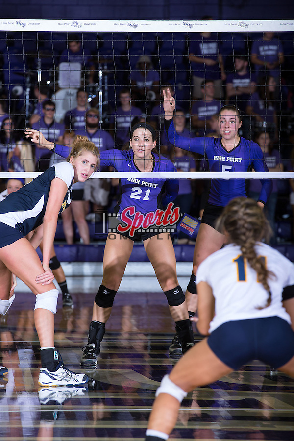 Camryn Freiberg (21) of the High Point Panthers during the match against the UNC Greensboro Spartans at Millis Athletic Center on September 16, 2014 in High Point, North Carolina.  The Panthers defeated the Spartans 3-0.   (Brian Westerholt/Sports On Film)