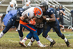 ANSONIA, CT. 02 December 2018-120218 - Ansonia's Troy Sanders #39 hits Bloomfield's Anthony Simpson #3 very hard with some help from teammate Chicago Rivers #19 during the Class S Semi-final game between Bloomfield and Ansonia at Ansonia High School in Ansonia on Sunday. Bloomfield held on to beat Ansonia 26-19 and advances to the Class S Championship game next week. Bill Shettle Republican-American