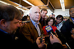 Sen. John McCain (R-AZ) holds a press availability after a town hall meeting in Pembroke, N.H., on Wednesday, Jan. 2, 2008.