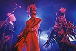 Tony James front man and lead singer of Sigue Sigue Sputnik. Punk band 1980s. Jane Farrimond,  on keyboards and Martin Degville. Newcastle Upon Tyne. UK