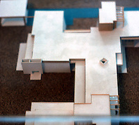 Rudolph Schindler: Schindler House--model, 1922. Chase wing at top; Schindler at bottom; King's Rd. on right; garden on left.