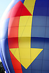 The arrow pattern on a multi colored Hot Air Balloon