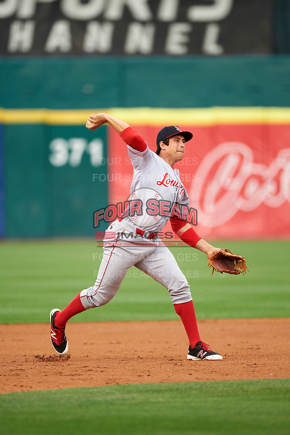 Louisville Bats third baseman Seth Mejias-Brean (5) throws to first during a game against the Buffalo Bisons on June 20, 2016 at Coca-Cola Field in Buffalo, New York.  Louisville defeated Buffalo 4-1.  (Mike Janes/Four Seam Images)