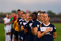 Sky Blue FC and FC Kansas City line up during the playing of the national anthem. Sky Blue FC and FC Kansas City played to a 2-2 tie during a National Women's Soccer League (NWSL) match at Yurcak Field in Piscataway, NJ, on June 26, 2013.