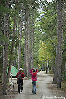 Mother and daughter walking their dog along the campsite path