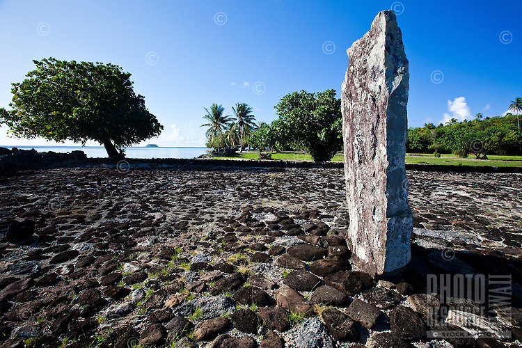 Altar stone and ancient temple Taputapuatea Marae on Raiatea, French Polynesia