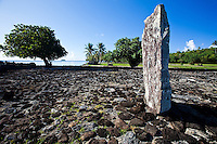 Altar stone and ancient temple Taputapuatea Marae on Raiatea, French Polynesia
