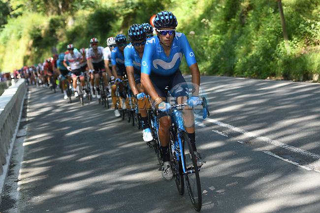 Movistar Team control the peloton during the 2019 Clasica Ciclista San Sebastian, running 227.3km starting and finishing in Donostia-San Sebastián, Spain. 3rd August 2019.<br /> Picture: Colin Flockton | Cyclefile<br /> All photos usage must carry mandatory copyright credit (© Cyclefile | Colin Flockton)