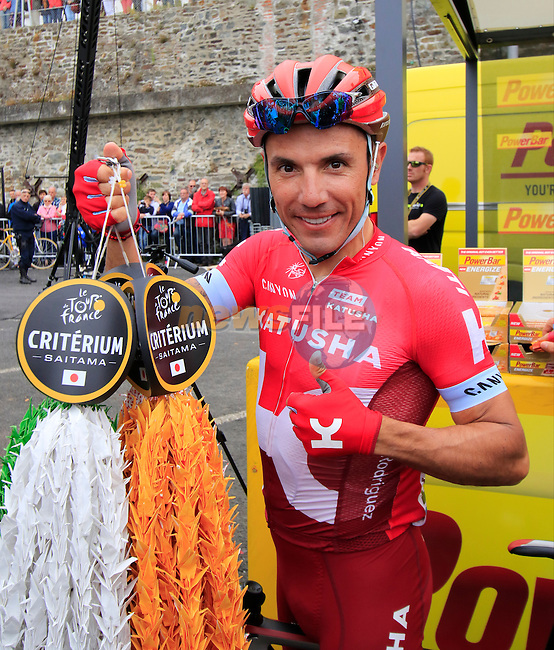 Joaquim Rodriguez (ESP) Katusha at sign on before the start of Stage 3 of the 2016 Tour de France, running 223.5km from Granville to Angers, France . 4th July 2016.<br /> Picture: Eoin Clarke | Newsfile<br /> <br /> <br /> All photos usage must carry mandatory copyright credit (&copy; Newsfile | Eoin Clarke)