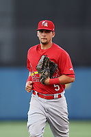 Palm Beach Cardinals center fielder Chase Pinder (5) jogs off the field during a game against the Charlotte Stone Crabs on April 21, 2018 at Charlotte Sports Park in Port Charlotte, Florida.  Charlotte defeated Palm Beach 5-2.  (Mike Janes/Four Seam Images)