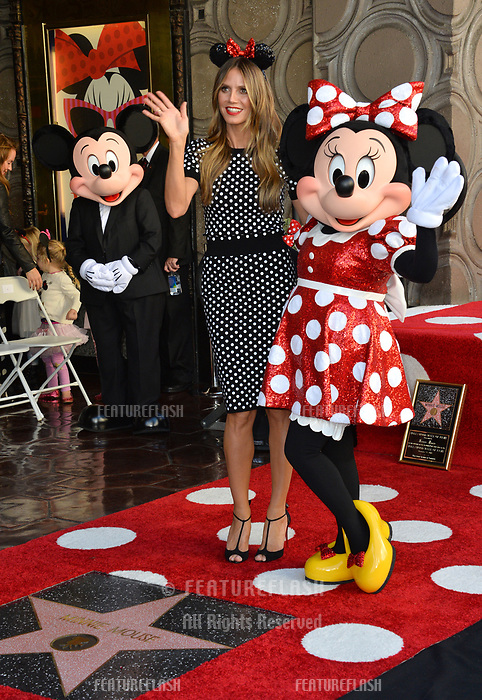 Heidi Klum, Minnie Mouse &amp; Mickey Mouse at the Hollywood Walk of Fame Star Ceremony honoring Disney character Minnie Mouse, Los Angeles, USA 22 Jan. 2018<br /> Picture: Paul Smith/Featureflash/SilverHub 0208 004 5359 sales@silverhubmedia.com