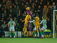 4th March 2020; Almondvale Stadium, Livingston, West Lothian, Scotland; Scottish Premiership Football, Livingston versus Celtic; Fraser Forster of Celtic fails to catch a throw in under pressure from Jon Guthrie of Livingston