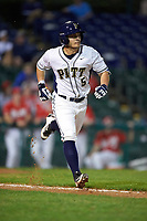 Pitt Panthers second baseman Matt Johnson (5) during a game against the Ohio State Buckeyes on February 20, 2016 at Holman Stadium at Historic Dodgertown in Vero Beach, Florida.  Ohio State defeated Pitt 11-8 in thirteen innings.  (Mike Janes/Four Seam Images)