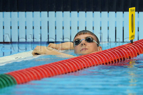 German swimmer Paul Biedermann swims to the pool edge after placing fourth in the 400 metres freestyle competition during the European Short Course Championships in Istanbul, Turkey, 10 December 2009. The European Short Course Championships take place from 10 until 13 December 2009.