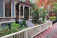 House fronts in fall. Portland, Oregon