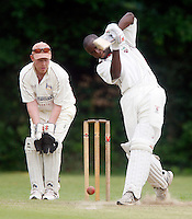 Garfield Struthers bats for Hornsey during the Middlesex County Cricket League Division Three game between Highgate and Hornsey at Park Road, Crouch End, London on Sat June 5, 2010
