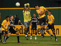 Monarcas Morelia goalkeeper Moises Munoz (23) goes up to clear the ball. Monarcas Morelia tied DC United 1-1 in  the SuperLiga opening match of the group B, at RFK Stadium Washington DC, Wednesday July 26, 2007.
