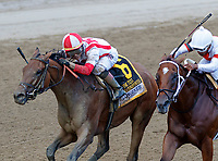 Separationofpowers (no. 6) wins the Longines Test Stakes (Grade I), Aug. 4,2018 at the Saratoga Race Course, Saratoga Springs, NY.  Ridden by Jose Ortiz and trained by Chad Brown,  Separation of Powers finished a neck in front of Mia Mischief (no. 7).  (Photo credit: Bruce Dudek/Eclipse Sportswire)