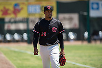Visalia Rawhide starting pitcher Emilio Vargas (26) walks to the dugout before a California League game against the Stockton Ports at Visalia Recreation Ballpark on May 9, 2018 in Visalia, California. Stockton defeated Visalia 4-2. (Zachary Lucy/Four Seam Images)
