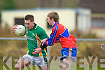 Tomas Moriarty St Brendan's College is blocked by Shane O'Sullivan ISK in their quarter final clash in Listry on Wednesday