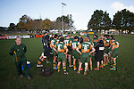 The Pukekohe players gather for the halftime break. Counties Manukau Premier Club Rugby game between Pukekohe and Bombay, played at Colin Lawrie Fields, Pukekohe, on Saturday June 28 2014. Bombay won the game 24 - 20 after leading 12 - 11 at halftime  Photo by Richard Spranger